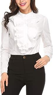 Women Victorian Blouses High Neck Shirts Long Sleeve Button Down OL Tops