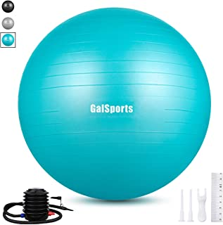 GalSports Extra Thick Exercise Ball, Anti-Burst Yoga Ball Chair Supports 2200lbs with Quick Pump, Stability Fitness Ball for Birthing & Core Strength Training & Physical Therapy