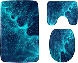 DNA Abstract Molecular Map Bathroom Rug Mats Set 3-Piece,Soft Shower Bath Rugs,Contour Mat and Toilet Seat Lid Cover Non-S...