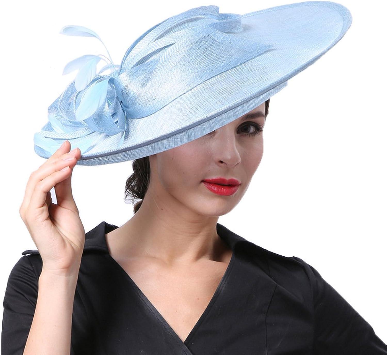 Church Hats Women Sinamay Hats Kentucky Derby Sun Summer Hat Floral Feathers Derby Dress Wide Hat for Party, Beach, Weddings