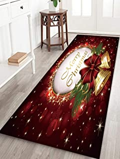 Christmas Santa Claus Durable Anti-Slip Kitchen Living Room Floor Mat Flannel Rugs Christmas Decor Floor Rug