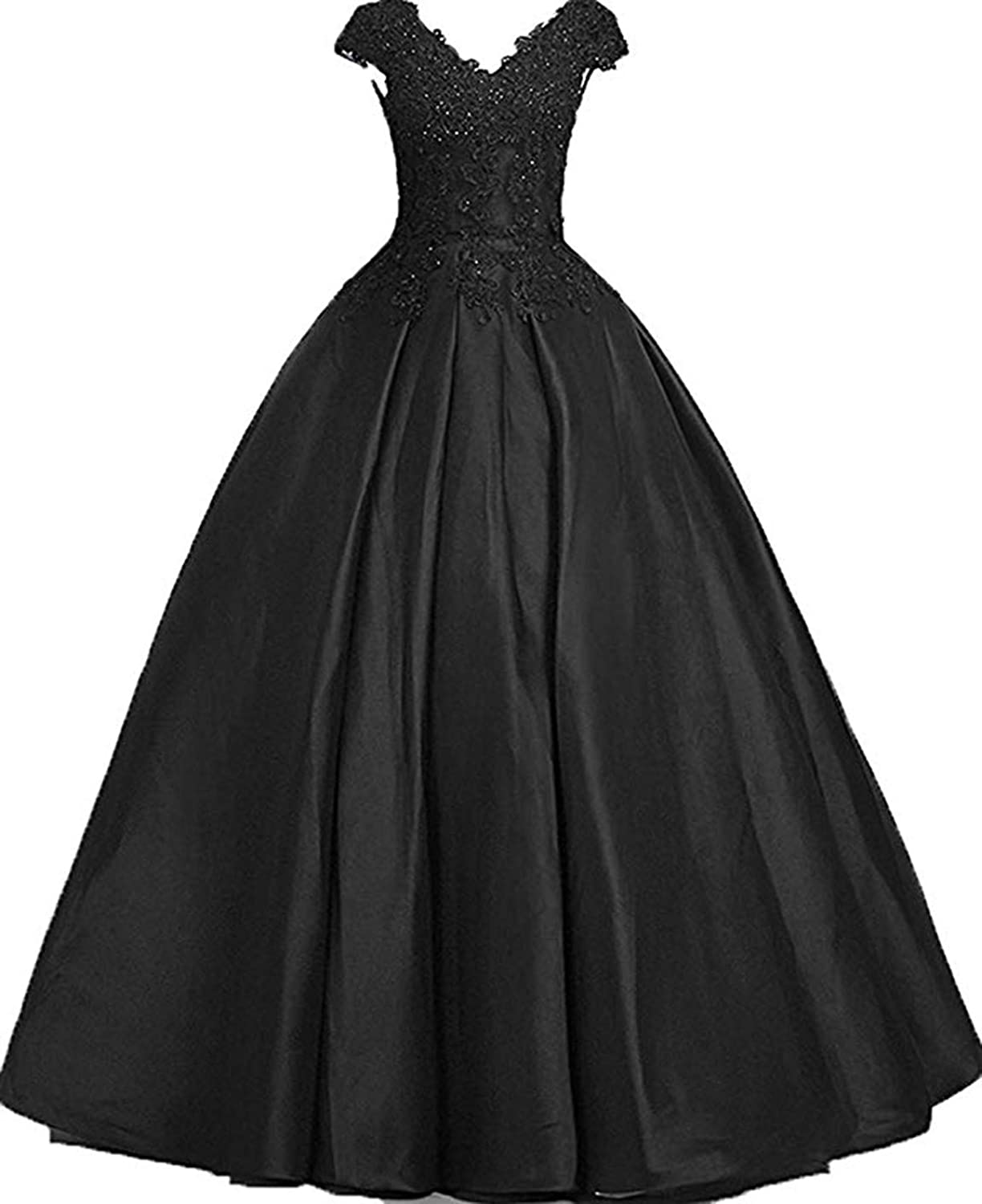 Scarisee Womens Ball Gown Vneck Lace Appliqued Prom Evening Party Dress Sleeves Formal200