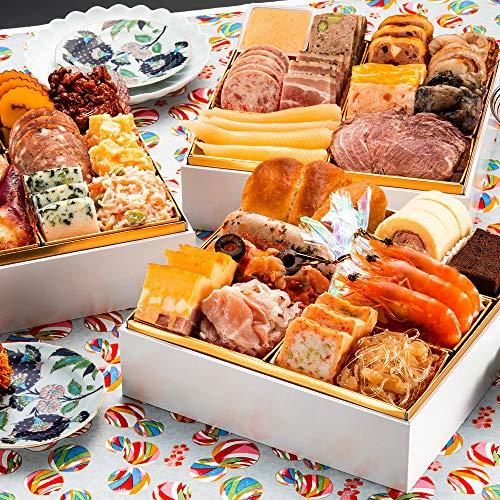 博多久松 洋風本格3段重おせち Sakurazaka 6.5寸3段重 全34品 おせち料理 お届け日(2020年12月30日)着