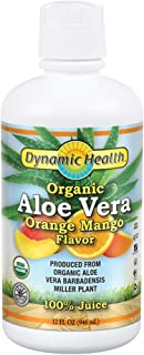 Dynamic Health Organic Aloe Vera juice, orange Mango Flavor | No Added Sugar, Artificial Color Or Sweeteners. Bpa-free, Gluten-free | 32oz, 8serv