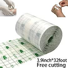 Ewinodon Transparent Stretch Adhesive Bandage Waterproof Bandage Roll Transparent Film Dressing Second Skin (3.9inch*32foot)
