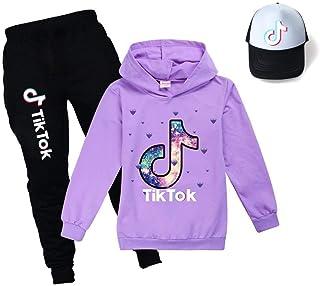 Sudadera con capucha para niños TIK Tok para deportes al aire libre, unisex, ropa para niños, sombrero de sol de tres piezas