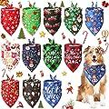 12 Pieces Christmas Dog Bandanas Pet Christmas Bandanas Soft Dog Triangle Bibs Kerchief Adjustable Washable Puppy Scarf Xmas Pet Costume Accessory Decoration for Small Medium Large Dogs Cats Pets