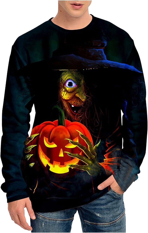 FORUU Men's Halloween Shirts 2021 3D Printed Sweatshirts Pumpkin Casual Ghoust Horror Long Sleeve T-Shirt Fanny Tops
