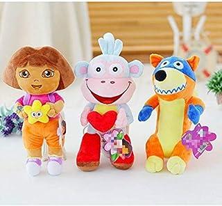 N/D Plush Toy 3 Pcs/Lot 25 cm Real Love Adventure of Dora Monkey Boots Swiper Plush Stuffed Toys Soft Tv & Movies Game Dol...