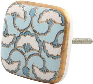 12 piezas de cerámica artesanal Indianshelf mar turquesa Diseño Shell cajón cuadrado pomos de la puerta del armario ropero...