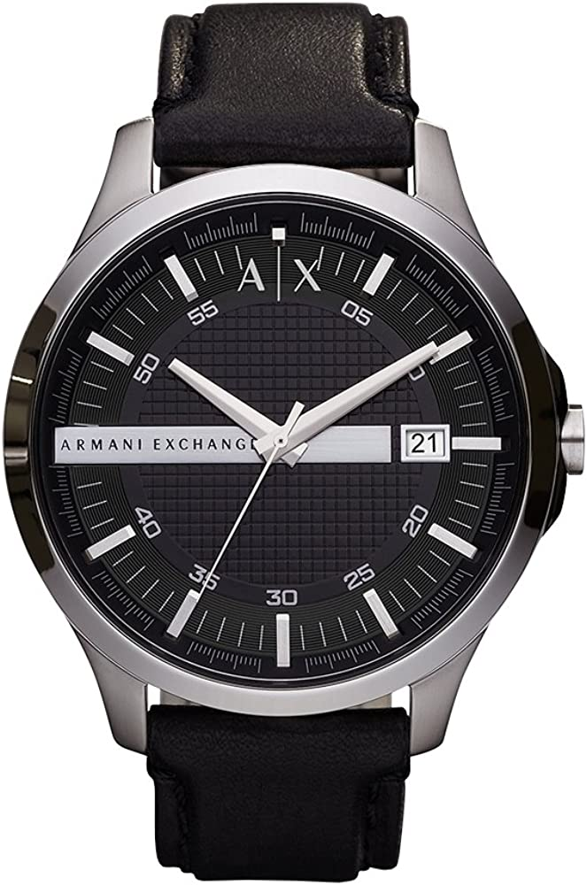 Armani Exchange Men's Hampton Leather Watch, Color: Black/Silver (Model: AX2101)