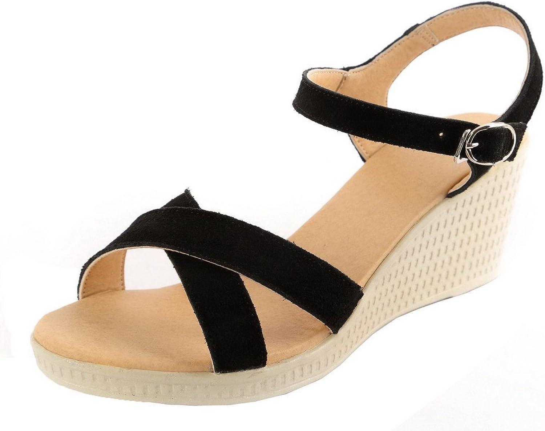 AmoonyFashion Women's Buckle PU Kitten-Heels Assorted color Open-Toe Sandals