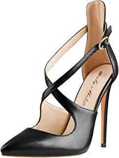 Women's Pointed Toe Crisscross Strappy High Heels Stiletto Pumps Ladies Ankle Strap Party Wedding Dress Shoes