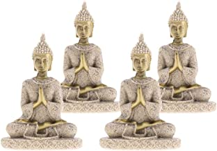 Flameer 4 Pcs Asian Buddha Statue Sandstone Golden Crafts Home Decoration