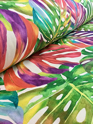 HomeBuy TROPICAL PALM LEAVES Fabric Curtain Upholstery Cotton Material jungle palm leaf - 140cm wide (sold by the Metre) green red pink