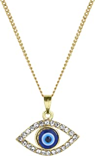 Bodha Moon Dust 14K Gold Plated Evil Eye Pendant with Chain & Crystals (SJ_2195)