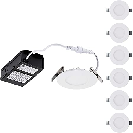 Globe Electric 3 Led Integrated Ultra Slim Recessed Lighting Kit 4 Pack 6 Watts Energy Star Ic Rated Dimmable Wet Rated Fixed Flood White Finish 91125