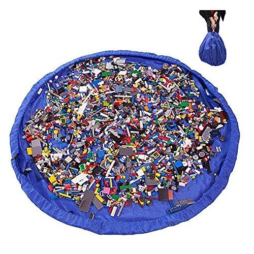 Sycle circle 2 en 1 Sacs à Jouets pour Enfants Bébé 150cm Sac de Rangement Tapis de Jeu Pliable Organisateur de Blocs de Construction Portable 150cm pour Maison/ Outdoor/ Voyage (150cm-Blue)