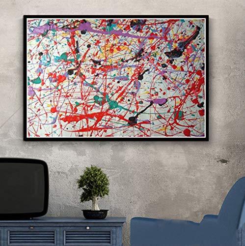 QINGRENJIE Gemälde Kunst Leinwand Poster Jackson Pollock Abstrakte Malerei Poster und Drucke Leinwand Wandbilder für Wohnzimmer Home Decor 50X70 cm ohne Rahmen