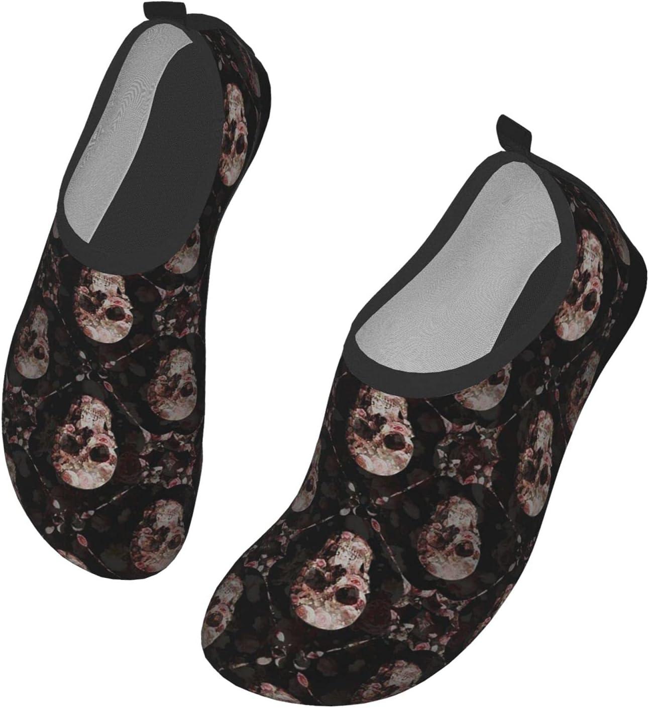 Womens Mens Summer Water Shoes Skull and Bones Floral Flower Barefoot Shoe Quick Dry Aqua Socks