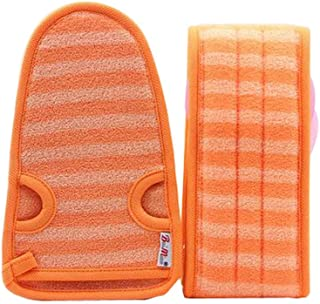 2 Of Soft Bath Mitts Exfoliating Gloves Bath Belts for Female, ORANGE