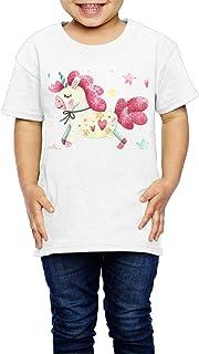 水彩画のユニコーンとハートスター 子供服 キッズ 半袖 Tシャツ 綿100% 4 Toddler