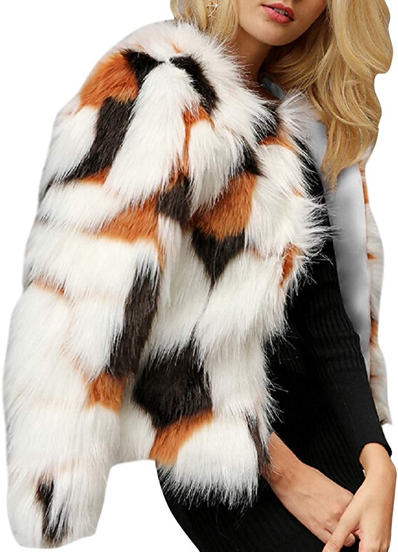 CHARTOU Women's Stylish Faux Fur Cocktail Party Cardigan Coat Outwear Clubwear