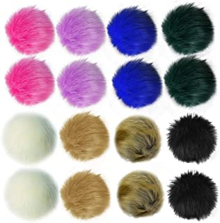 obmwang 16 Pieces 4.72 Inchs Faux Fox Fur Pom Pom Balls DIY Faux Fur Fluffy Pompoms with Elastic Loop for Knitting Hats Sh...