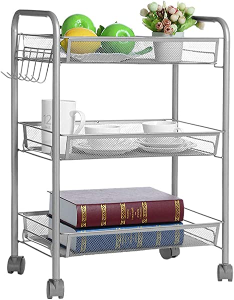 US Fast Shipment Quaanti 3 Tier Mesh Wire Rolling Cart Multifunction Utility Cart Kitchen Storage Cart On Wheels Steel Wire Basket Shelving Trolley For Office Bedroom Bathroom Easy Moving Silver