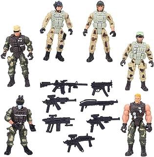 Atyhao Figurines d'action de Soldat, 6 pièces articulations Mobiles modèles de Police de Soldat Militaire avec Armes Jouet...