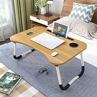 JS - Bandeja para Ordenador portátil, con Mesa para Dormir y Mesa de Escritorio, Cama con Mesa para Ordenador portátil, Mesa Plegable de 70 x 48 cm (Vetas de Madera)