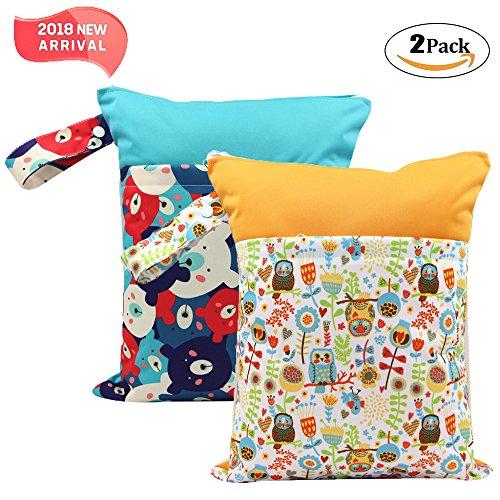 '2 Pack Baby humide et chiffon sec Sacs à langer étanche réutilisable avec deux poches à fermeture éclair, 11,8 X 14,6, animaux, 2 Pack, bear&owl, 2