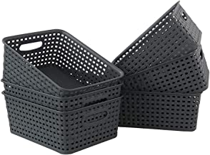 Xowine Plastic Multi-purpose Storage Basket, Desktop Organizer Bins, 6-Pack, Grey