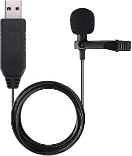 Gyvazla USB Microphone Lavalier Clip-on Omnidirectional Condenser Microphone for Computer Laptop PC Macbook Perfect for In...