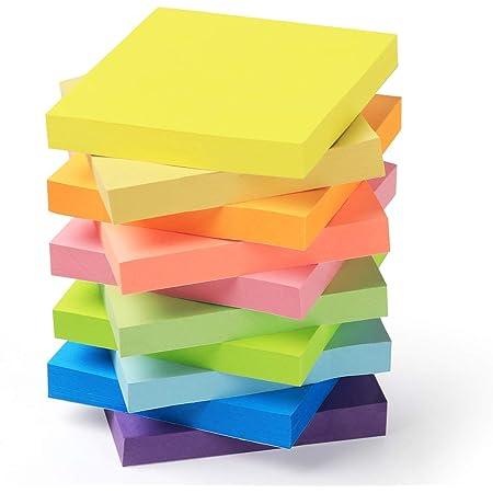 Feuillets autocollants Sticky Notes Lot de 10 Blocs - 10 Couleurs 76 x 76 mm (3 in X 3 in), Note Autocollantes100 Feuilles/Pad, Total 1000 Feuillets pour Maison de Bureau/Utilisation Quotidienne