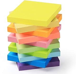 Feuillets autocollants Sticky Notes Lot de 10 Blocs - 10 Couleurs 76 x 76 mm (3 in X 3 in), Note Autocollantes100 Feuilles...