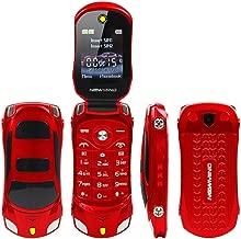 Sports Car Model F15 Mini Flip Phone Dual SIM Card Flashlight MP3 Backup Phone Best for Kids Students (Red)