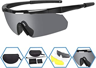 XAegis Tactical Eyewear 3 Interchangeable Lenses, Outdoor Antifog Safety Glasses &..