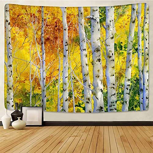 JXWR Paisaje Natural tapices de Pared Abedul sweetgum Bosque Tapiz de Tela de Pared Hippie Mandala Tapiz 150X130