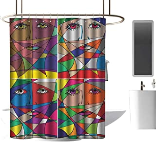 TimBeve Quality Fabric Shower Curtain Abstract,Abstract Woman Face Illustration Behind Stained Glass Styled Human Facial Feature, Multicolor,Eco-Friendly,for Bathroom Curtain 72