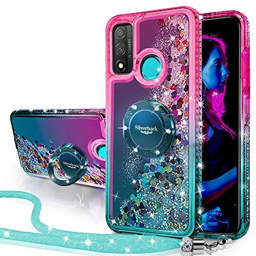 Miss Arts Funda Huawei P Smart 2020,[Silverback] Carcasa Brillante Purpurina con Soporte giratorios, Transparente Cristal Telefono Fundas Case Cover para Huawei P Smart 2020 -Verde
