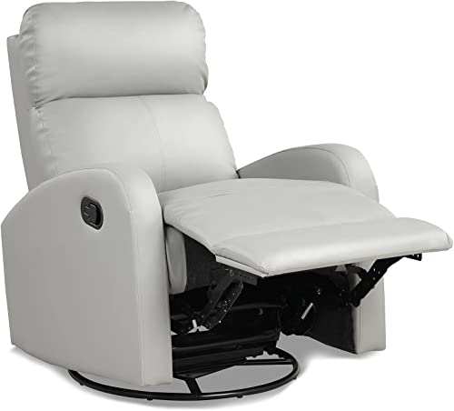 wholesale Giantex Recliner Chair, Manual Rocking Chairs with Pull Button, 360° Swivel Glider, Faux Leather Living Room Single Lazy Sofa, Padded Seat, Gliders 2021 for Kids Playroom, Nursery online (Gray outlet online sale