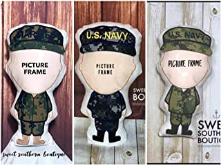 Daddy Doll stuffed pillow military photo picture frame daddy mommy dad mom uncle deployment kid kids boy girl child baby gift present spouse wife husband navy army marines air force coast guard act