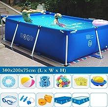 TYP Mall Deluxe Splash Frame Pool Desmontable Tubular Piscina para Adultos Grande Y Gruesa Al Aire Libre Alrededor De Los Niños PVC De 3 Capas Prevención De Grietas,300x200x75cm