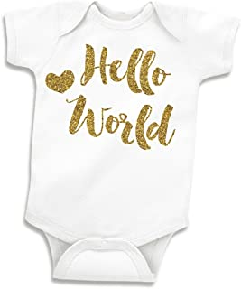 Bump and Beyond Designs Baby Girl Clothes, Take Home Outfit, Hello World (0-3 Months),White