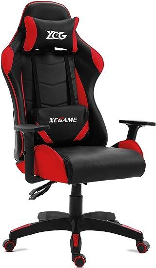 GAMING - Silla gamer oficina gaming, sillon escritorio ergonómico despacho giratoria color rojo, reclinable ajustable con reposabrazos, 5 ruedas