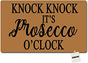 SGBASED Door Mat Welcome Mat Knock Knock It's Prosecco 'Clock Doormat Entrance Floor Mat Rubber Non Slip Backing Entry Way Doormat Non-Woven Fabric (23.6 X 15.7 Inches)