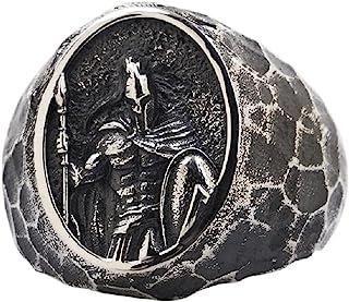 خاتم Spartan Warrior للرجال، خاتم نوردك فايكنغ واريور رينج سبارتان المحارب خوذة للرجال سيف شيلد خاتم مجوهرات هدية عيد الأب