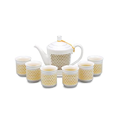 Dahlia Rice Grain Porcelain Tea Set (Teapot + 6 Teacups) in Gift Box, Ling Long Devil's Work