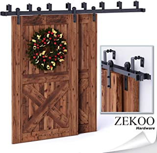 ZEKOO 5-16FT Double Bypass Barn Door Hardware Low Ceiling Kit Rustic Black Steel Metal Rail Roller Set (9FT KIT)